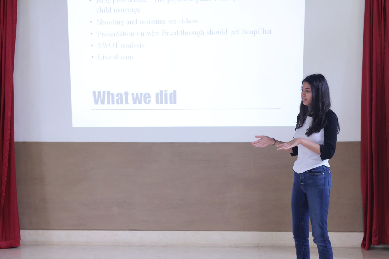 Rhea presents the work she did at her NGO Breakthrough Trust
