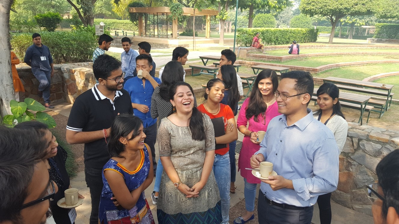 Mr. Gaurav Gogoi (Member of Parliament, Lok Sabha) having a light-hearted conversation with the students